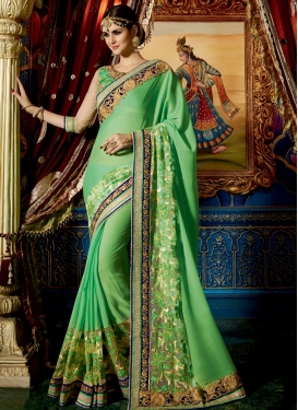 Glossy  Beads Work Trendy Designer Saree