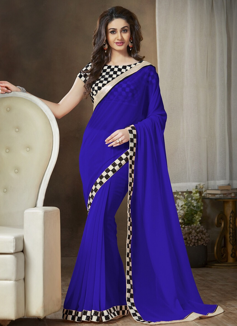 Glossy Blue Color Casual Saree