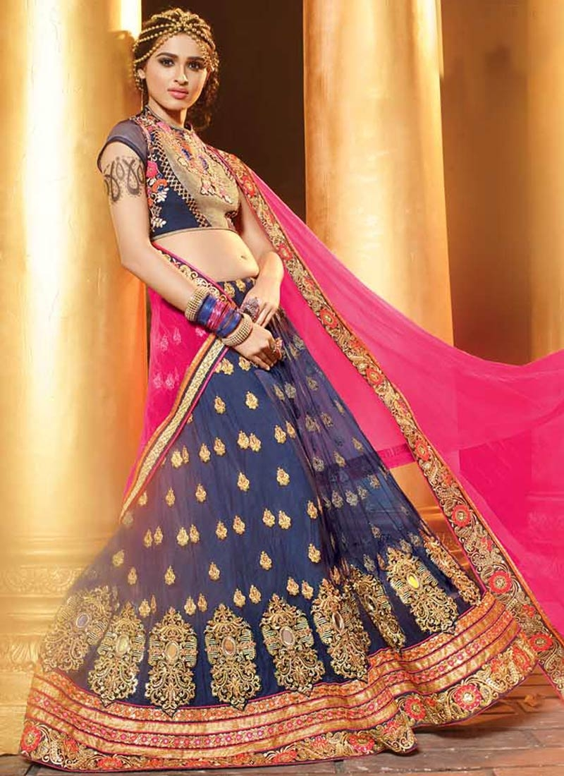 Glossy Booti And Stone Work Wedding Lehenga Choli
