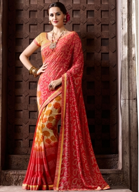 Glossy Cream Trendy Classic Saree For Casual
