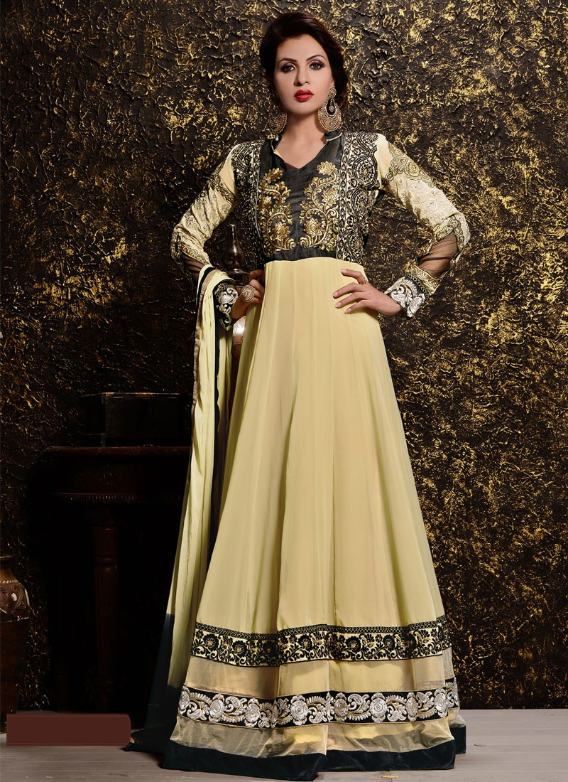 Glossy Lace Work Long Length Anarkali Suit