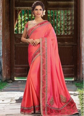 Glowing  Beads Work Traditional Designer Saree For Festival