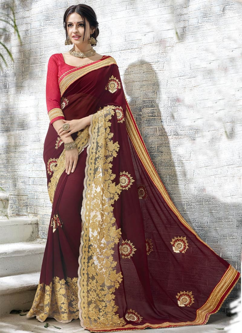 Glowing Booti And Patch Border Work Designer Saree
