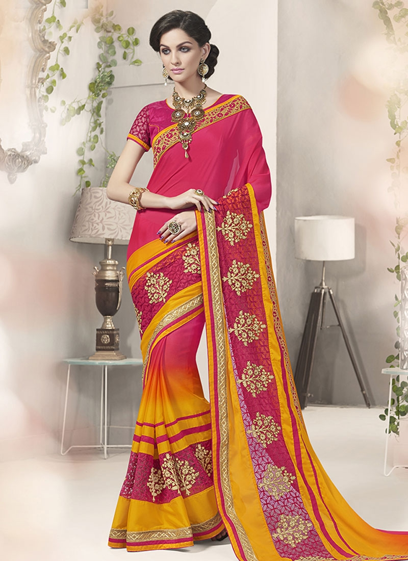 Glowing Booti And Resham Work Party Wear Saree