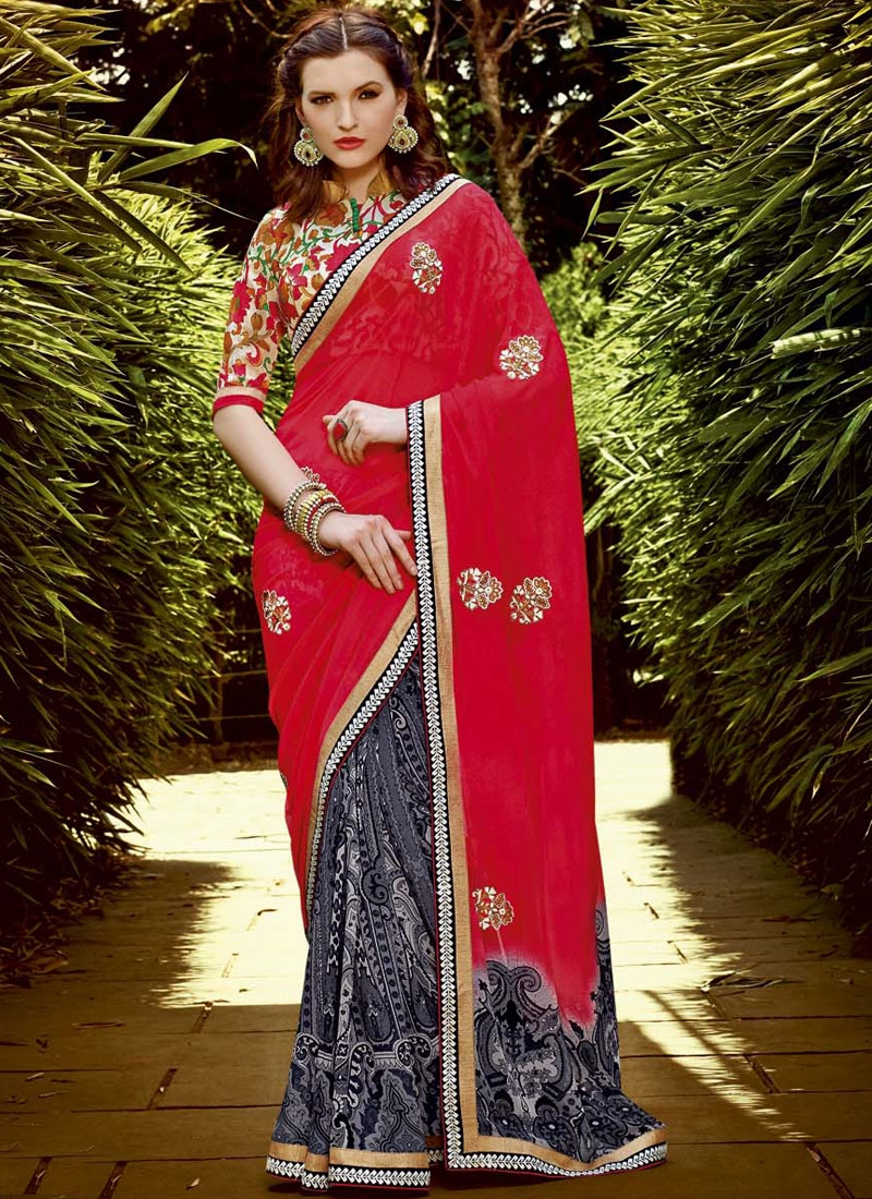 Glowing Booti Work Half N Half Casual Saree