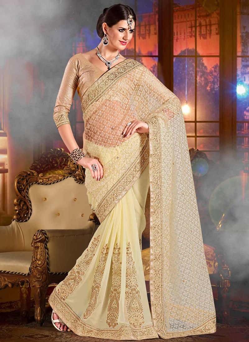 Glowing Booti Work Wedding Saree