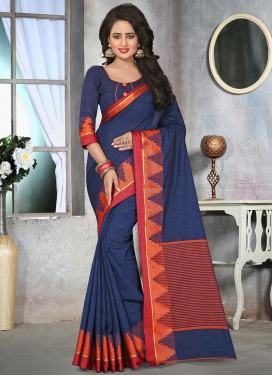 Glowing Cotton Silk Resham Work Contemporary Saree