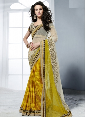 Glowing Crepe Jacquard Half N Half Wedding Saree
