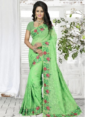 Glowing Embroidered Work Faux Georgette Trendy Saree For Festival