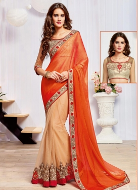 Glowing Embroidered Work Net Half N Half Saree