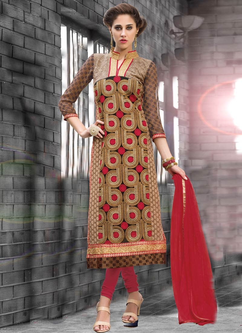 Glowing Embroidery Work Party Wear Salwar Kameez