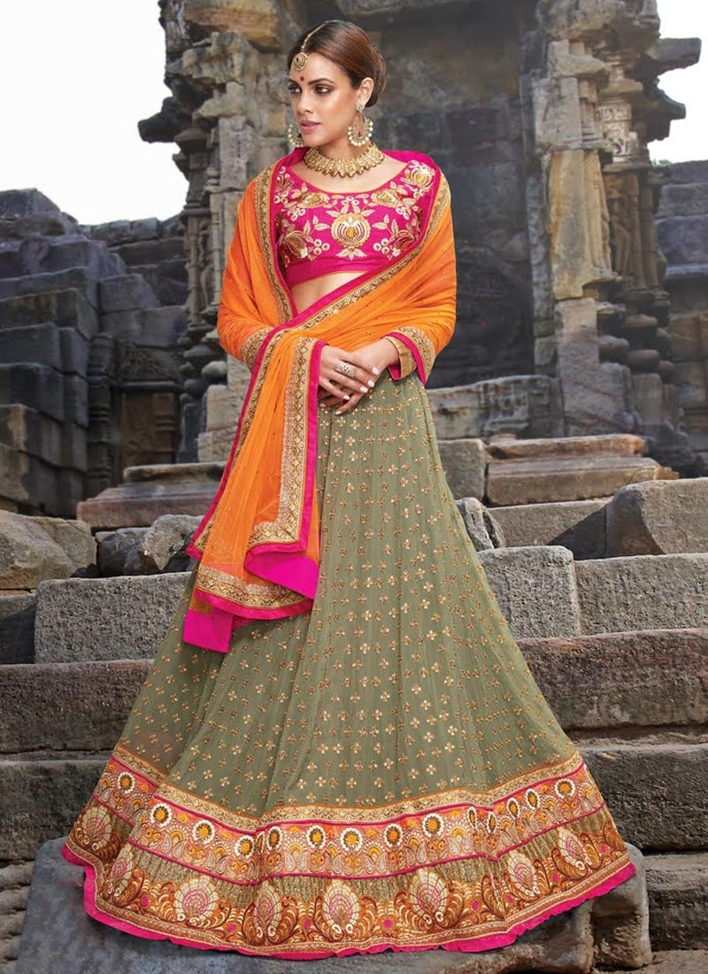 Glowing Grey Color Stone Work Bridal Lehenga Choli