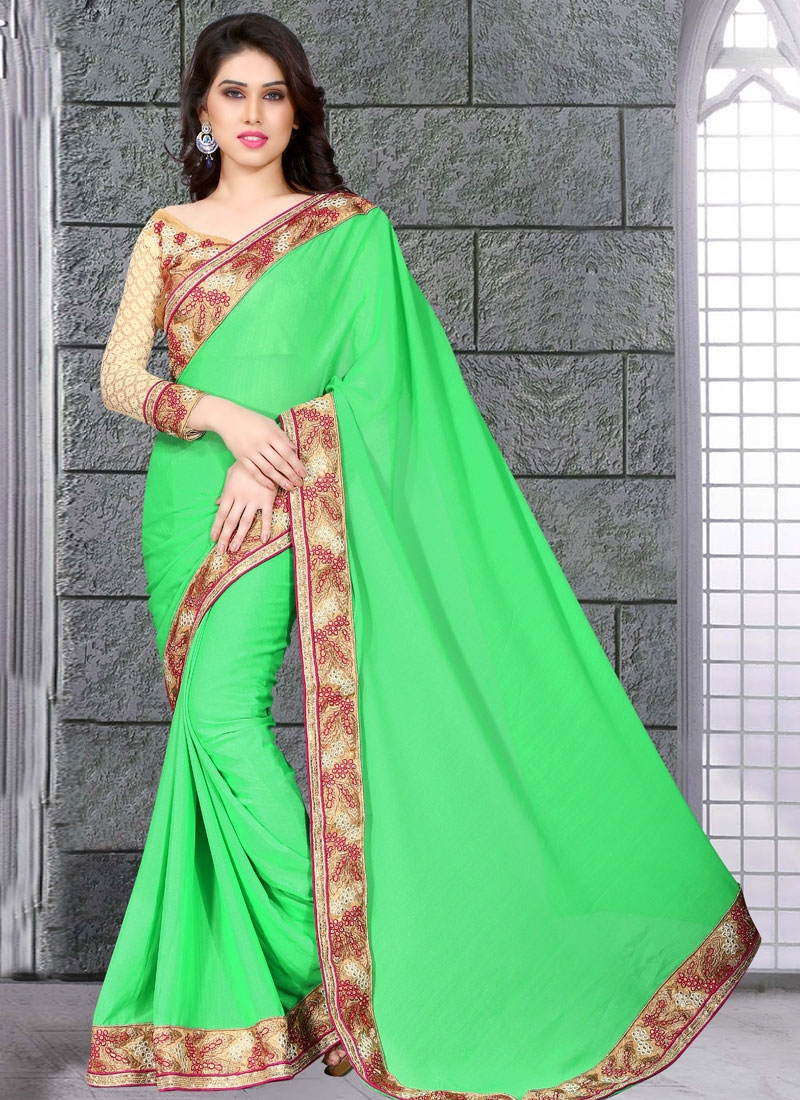 Glowing Mint Green Color Party Wear Saree