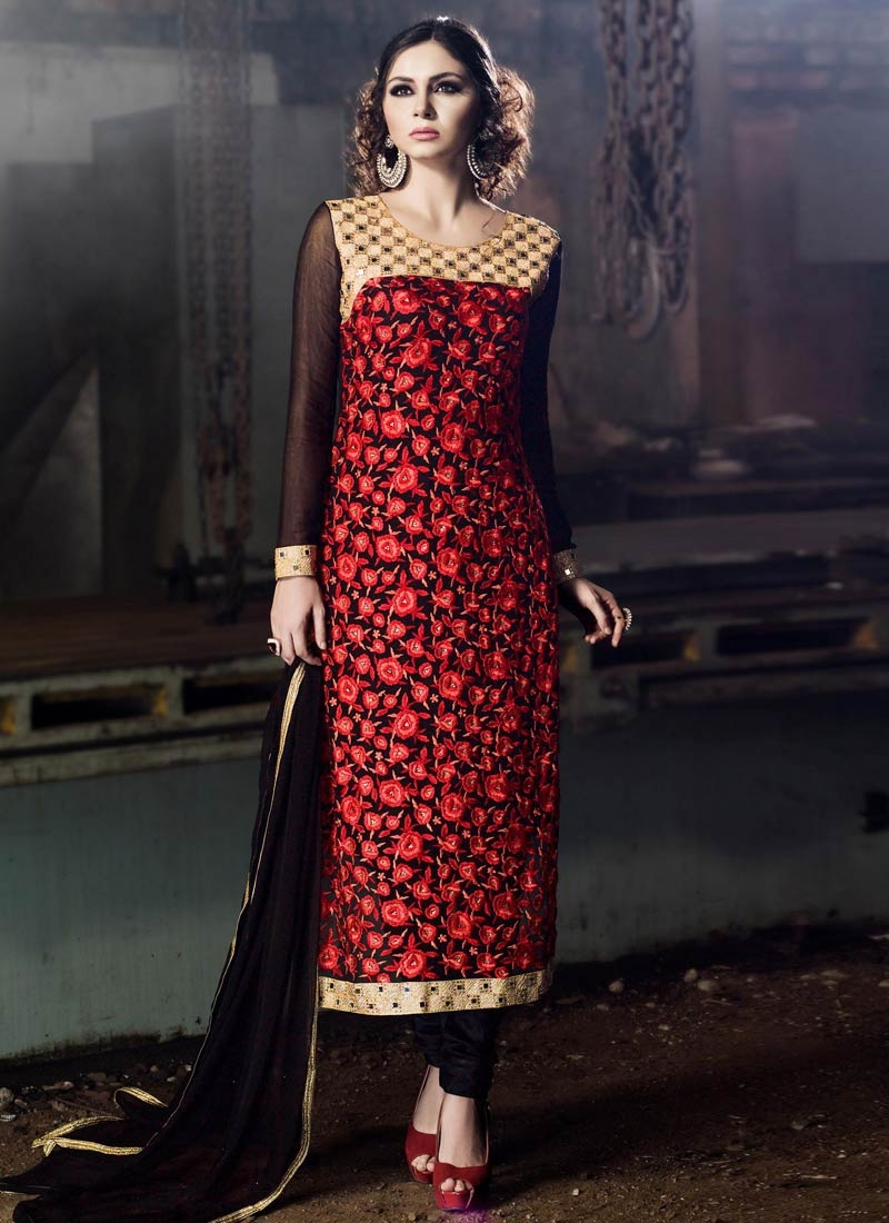Glowing Mirror And Floral Work Pakistani Salwar Suit