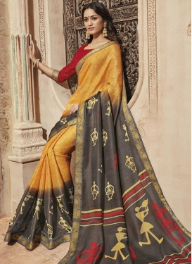 Gold and Grey Art Silk Traditional Saree