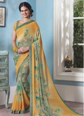 Gold and Grey Digital Print Work Traditional Saree