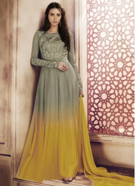 Gold and Grey Net Trendy Designer Salwar Kameez