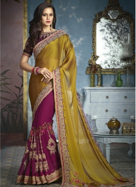 Gold and Magenta Embroidered Work Half N Half Trendy Saree