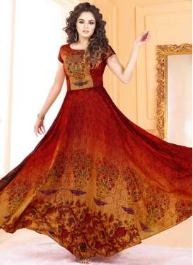 Gold and Maroon Embroidered Work Readymade Long Length Gown