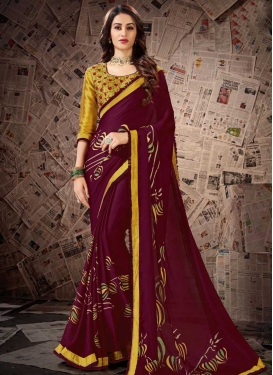 Gold and Maroon Satin Georgette Designer Contemporary Saree