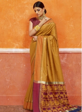 Gold and Maroon Thread Work Art Silk Trendy Saree