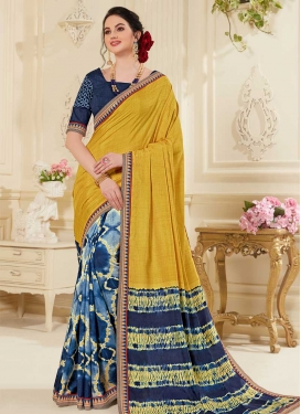 Gold and Navy Blue Art Silk Half N Half Trendy Saree