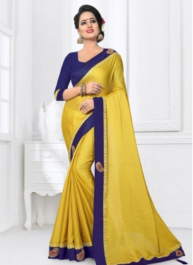 Gold and Navy Blue Beads Work Trendy Saree
