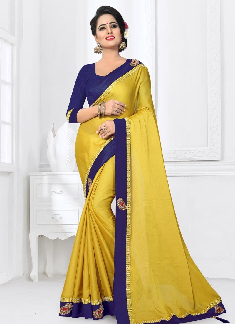 a7ff5fb2da8db3 Buy Gold and Navy Blue Beads Work Trendy Saree Online