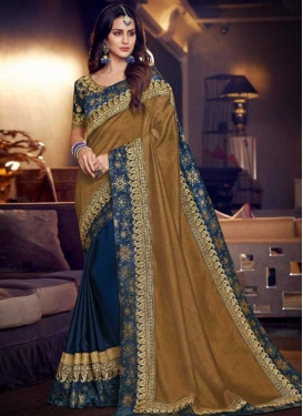 Gold and Navy Blue Half N Half Saree For Ceremonial