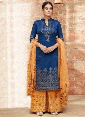 Gold and Navy Blue Silk Palazzo Style Pakistani Salwar Kameez