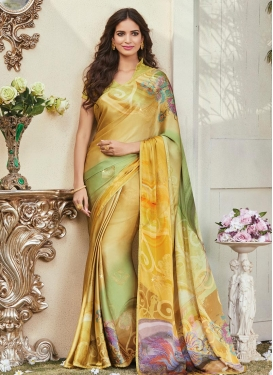 Gold and Olive Trendy Classic Saree For Ceremonial