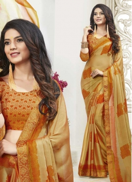 Gold and Orange Chiffon Satin Contemporary Style Saree