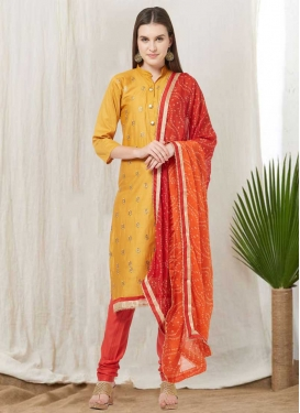 Gold and Orange Trendy Churidar Salwar Kameez For Casual