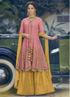 Gold and Pink Designer Salwar Kameez For Ceremonial