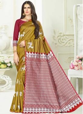 Gold and Red Banarasi Silk Designer Traditional Saree For Casual