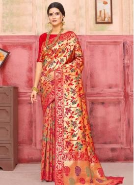 Gold and Red Designer Contemporary Saree For Ceremonial