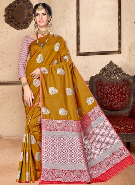 Gold and Red Designer Traditional Saree For Casual