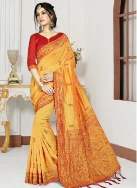Gold and Red Embroidered Work Traditional Saree
