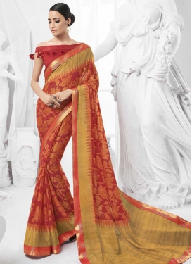 Gold and Red Lace Work Trendy Saree