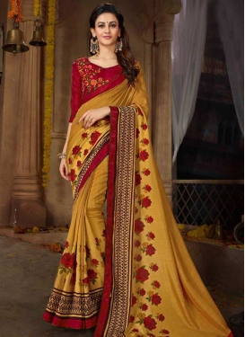 Gold and Red Satin Georgette Contemporary Saree