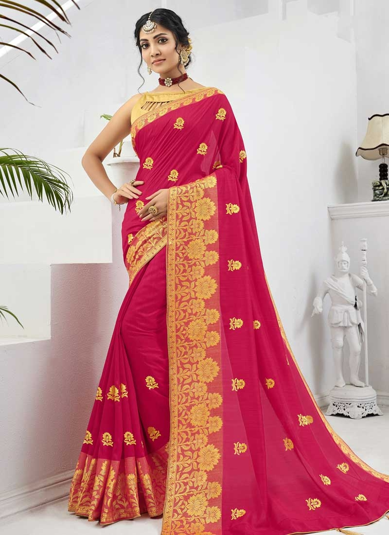 Gold and Rose Pink Art Silk Traditional Designer Saree
