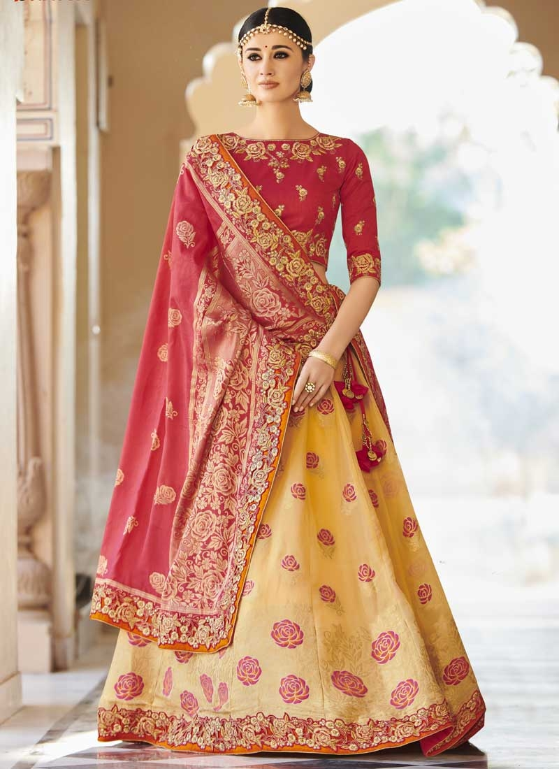 Gold and Rose Pink Banarasi Silk A Line Lehenga Choli For Festival