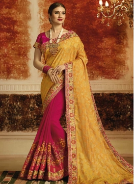 Gold and Rose Pink Embroidered Work Half N Half Trendy Saree