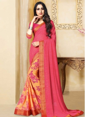 Gold and Rose Pink Half N Half Saree