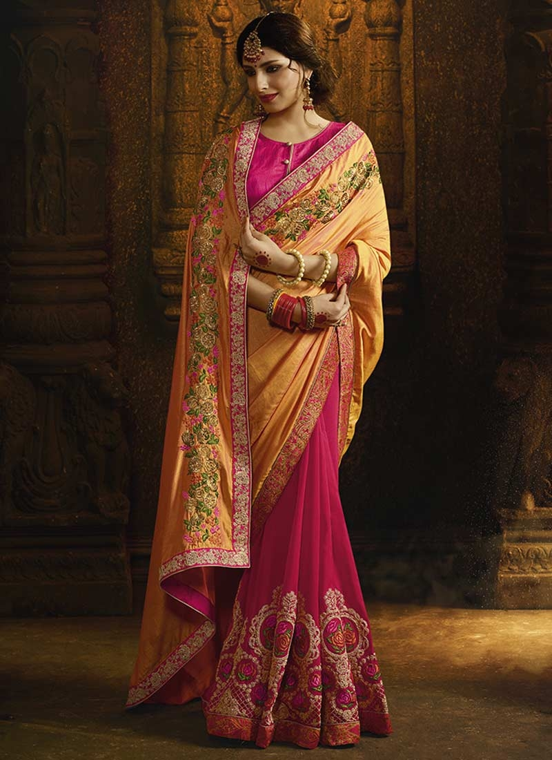 Gold and Rose Pink Half N Half Saree For Ceremonial