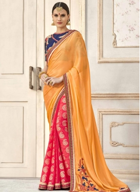 Gold and Rose Pink Half N Half Trendy Saree For Ceremonial