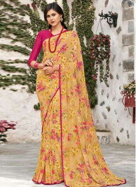 Gold and Rose Pink Traditional Designer Saree For Casual