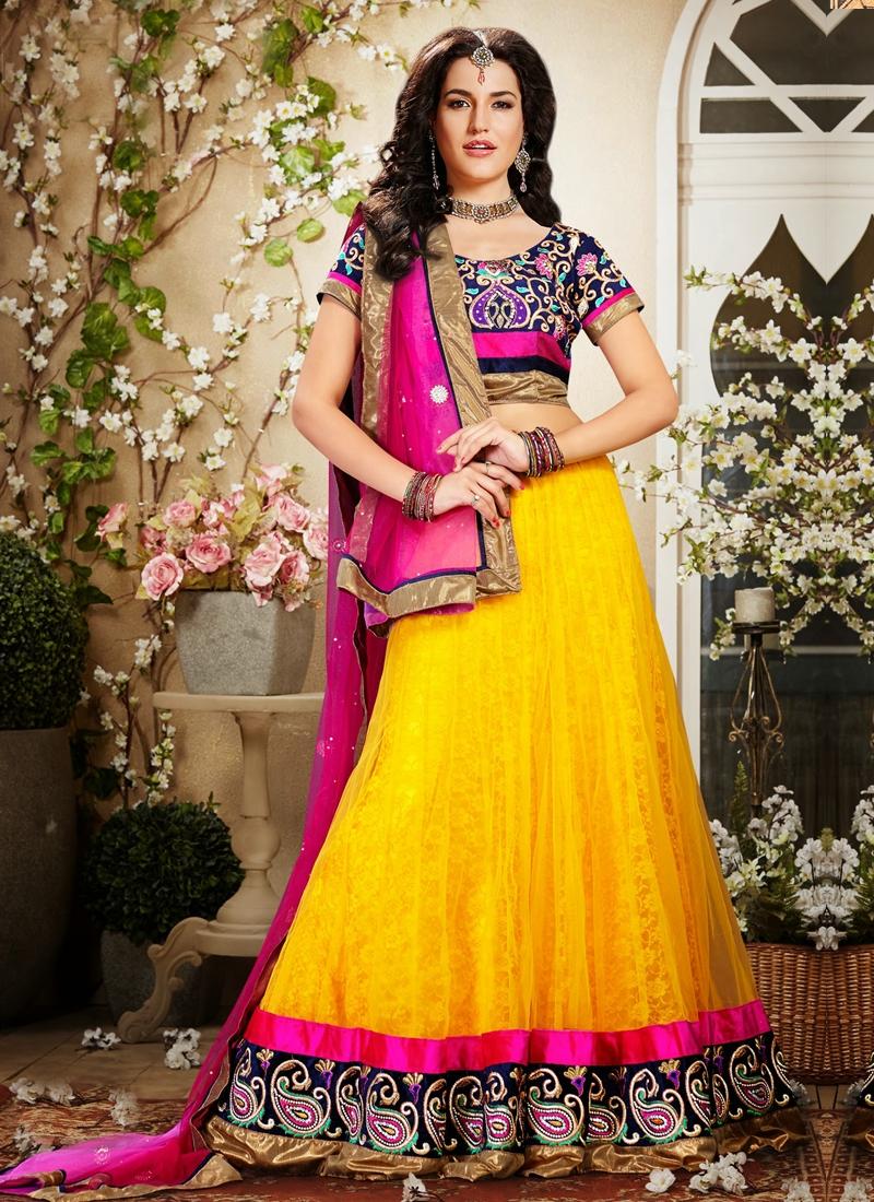 Gold And Rose Pink Wedding Lehenga Choli