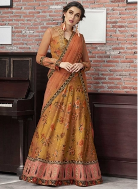 Gold and Salmon A Line Lehenga Choli For Bridal