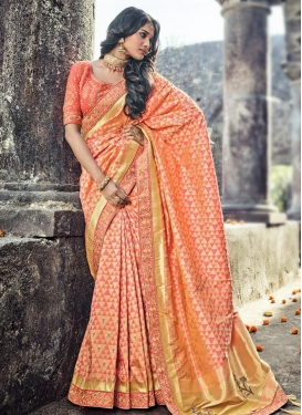 Gold and Salmon Classic Saree For Bridal